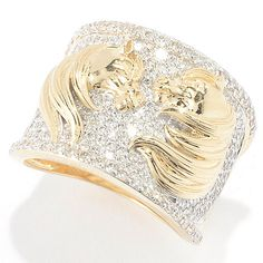 147-361- Beverly Hills Elegance® 14K Gold 1.00ctw Diamond Polished Horse Wide Band Ring