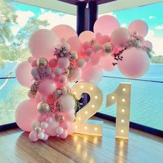Birthday Decorations 33657 10 Perfect Arcs and Garlands for your Quince Décor 21st Birthday Themes, 21st Bday Ideas, Birthday Goals, 18th Birthday Party, Happy Birthday, 21st Birthday Party Ideas For Girls, Balloon Birthday Parties, 21st Birthday Centerpieces, 21 Party