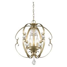 Cast a warm glow in your dining room or library with this classic pendant, featuring crystal drops and a white gold finish.  Product...