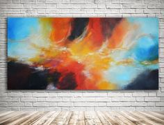 """""""Phoenix Rising - Red, blue and gold abstract 60"""" x 30"""" (152 cm x 76 cm)"""" by Andrada Anghel. Acrylic painting on Canvas, Subject: Abstract and non-figurative, Abstract style, One of a kind artwork, Signed certificate of authenticity, Size: 152.4 x 76.2 x 3.81 cm (unframed), 60 x 30 x 1.5 in (unframed), Materials: acrylic, canvas"""