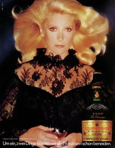 Catherine Deneuve as testimonial for Cognac Courvoisier, 1978....