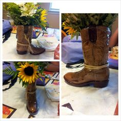 Old cowboy boots filled with flowers or decor in center of group tables on top of Burlap