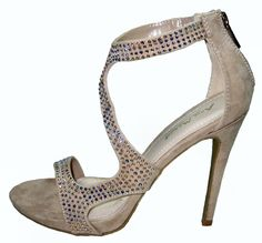 Gorgeous sparkly glam strappy prom, wedding, party, sandals with 4.5 inch stiletto high heels in nude faux suede decorated with brilliant colored rhin