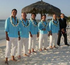 groomsmen ideals for a wedding on the beach.. But black linen shirts