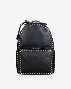 $2745 Valentino Medium Rockstud Black Calfskin Soft Leather Backpack Handbag #Valentino #BackpackStyle