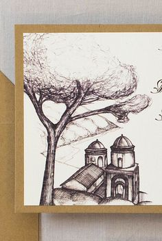 These Ravello Italy wedding invitations are stunning. We designed the invitations with a sketch of Church of Annunziata on the Amalfi Coast. Brown Wedding Invitations, Destination Wedding Invitations, Map Invitation, Ravello Italy, Amalfi Coast Wedding, Italy Wedding, Travel Themes, Wedding Locations, Sketch