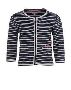 Ringel-Sweatjacke mit Chanel-Schnitt 3/4 Arm Stripes, Chanel, Sweaters, Fashion, Moda, Fashion Styles, Sweater, Fashion Illustrations, Sweatshirts