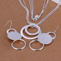 925 jewelry silver plated jewelry set, Nickle free antiallergic Double O Two-Piece Jewelry Set cex aipg