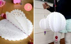 "Paper doily ""pom-poms"" all you need is small doilies, yarn, needle and beads for decoration. Doilies Crafts, Paper Doilies, Paper Lace, Fabric Paper, Diy Projects To Try, Craft Projects, Craft Ideas, Papier Diy, Diy Party"