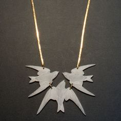 Flight of Swallows Necklace in Marble. Necklace. Swallow. Bird. Perspex. Engraved. Inked. Handmade. By Wolf and Moon