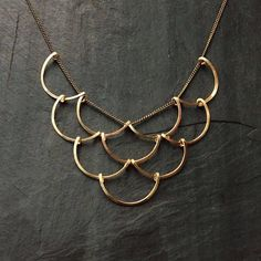 Gold Geometric Scales Necklace Loop Jewelry crescent