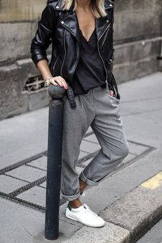 Dressy trousers, perfecto, sneakers