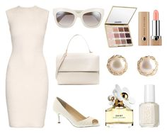 """""""Clue- Mrs White"""" by alybethomier ❤ liked on Polyvore featuring Eddie, Valentino, Alexander McQueen, Nina, Marc Jacobs, Essie, YooLa and tarte"""