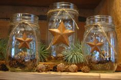 This listing is for a set of 3 decorated mason jars. Mason jars are decorated with rustic rusty barn stars tied to the jar with jute cord. Western Christmas, Primitive Christmas, Country Christmas, Christmas Crafts, Christmas Decorations, Holiday Decorating, Rustic Primitive Decor, Primitive Crafts, Rustic Decor