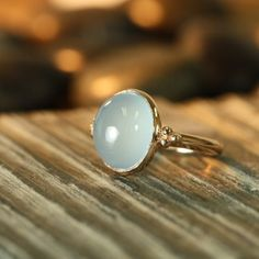 Vintage Inspired Natural Aquamarine Ring 14k Rose door LaMoreDesign, $398,00