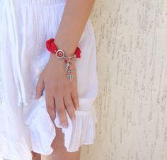Red Luck Evil Eye BraceletTurkish Silk by sevinchjewelry on Etsy, $30.00  #bracelet #fashion