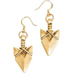 Tilly Doro Golden Earrings With Arrowheads ($26) ❤ liked on Polyvore featuring jewelry, earrings, golden, golden jewelry, earrings jewelry, golden earring and long earrings