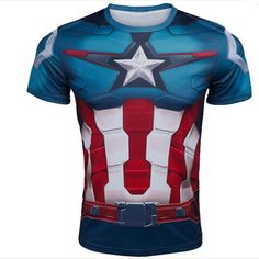 All of them are awesome! Even the back has detail! Too bad theyre all for men :( New Marvel Captain America 2 Superhero Lycra Compression Tights Sport T Shirts Men Running Gym Fitness Tee Shirts Camisetas $11.88