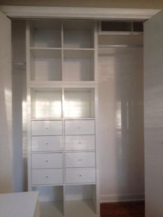 Closet  Kallax Shelving With Drawer Inserts. Designed By Karen