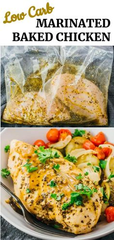 Juicy and tender roasted chicken with vegetables! Chicken breasts are marinated with olive oil, lemon juice, and spices, and then oven baked with onions, tomatoes, and zucchini. The marinade is easy to make, and it is a one pan / one pot dinner with minimal prep work. The juices leftover from baking are reduced to a flavorful sauce. Also healthy, keto, low carb, and paleo.
