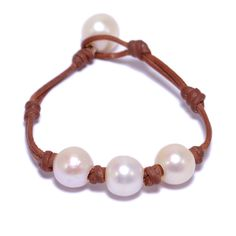 Fine Pearls and Leather jewelry by Designer Wendy Mignot Three Pearl Freshwater Bracelet with Knots