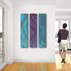 Concrete Abstract Wall art, 3 long panel ORIGINAL abstract painting, Large abstract art, - Blue Turquoise, gray, purple, aqua via Etsy