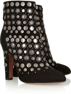 Studded Cutout Suede Ankle Boots - Lyst