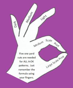 Finger Method for Choosing 5 one yard cuts for a fabulous quilt!