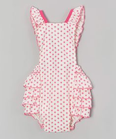 Look at this Pink & White Polka Dot Bubble Romper - Infant on #zulily today!