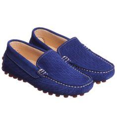Fendi Boys Blue Suede Leather Shoes