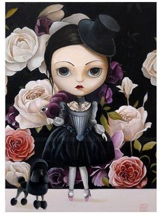 Rose in garden, pop surrealism Original ART PRINT , Girl portrait, big eyed, girl wall decor, black, queer art fairytale whimsical art