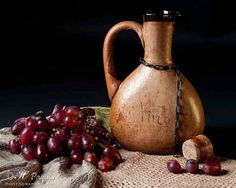 Vino Still Life - 8x10 Fine Art Photograph - Vintage wine bottle from Spain covered in leather, grapes, cork, wine cellar decor - Wall art