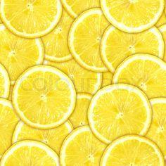 Stock image of 'Seamless pattern of yellow lemon slices'