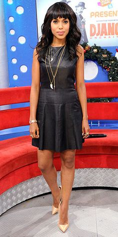 In NYC to promote her latest film Django Unchained, actress Kerry Washington wowed in a chic A.L.C little black leather dress styled with nude Christian Louboutin pointy-toe pumps. She topped off her ensemble with a necklace and earrings by House of Lavande and a bracelet, rings and necklaces by Sydney Evan.