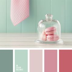 Color - Touching, almost doll-like palette. The combination of pastel shades looks very girlish. Rose-red and ash-pink add more brightness and expressiveness. Colour Pallette, Colour Schemes, Color Patterns, Color Combos, Pink Color Combination, Pantone, Pastel Shades, Pastel Colors, Colours