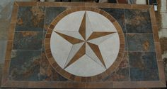 Texas Star Medallion - Hand Crafted in Bastrop, Texas by Jim Outlaw Decorative Concrete, Texas Star, Stained Concrete, Marble Tiles, Rooftop, Foyer, Mockup, Bathroom Ideas, Floors