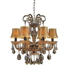 Jolianne Black Nickel/Tan Crystal Six-Light Chandelier with Golden Amber Glass