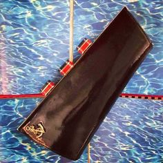 """Prada Saffiano """"Papaya"""" Vernice Leather Long Wallet Clutch Bag With Box Cheap Kate Spade, Kate Spade Diaper Bag, Kate Spade Planner, Prada Saffiano, Kate Spade Handbags, Long Wallet, Luxury Handbags, Clutch Wallet, Purses And Bags"""