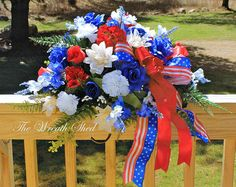 Patriotic Cemetery Flower Saddle, Artificial Cemetery Flowers, Large Tombstone Topper, Memorial Day Saddle, Headstone Topper, Free Shipping