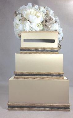 Wedding Card Box with Lock Cream Gold Wedding Card Box With Slot ...