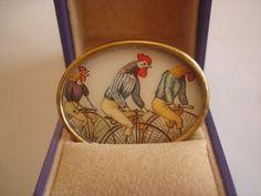 Rooster Vintage Jewelry  Animal Brooch KL Design