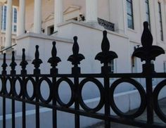 Iron Fence Surrounding Downtown Baptist Church Photo, Click for full size
