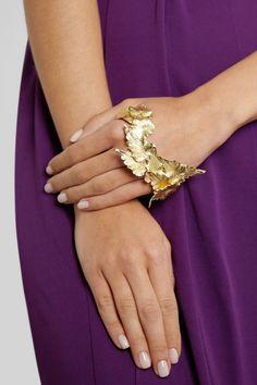 Metallic Moment: high-shine finishes lend lustre to fall. Ana Khouri | Leaf 18-karat gold hand cuff