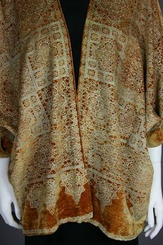 Mariano Fortuny Stencil Velvet Jacket, probably 1920's, Italy. Gold silk velvet with metallic stencil and silk lining. Label inside.