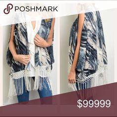 "JUST IN Trendy Girly Flirty Kimono with Fringe Indigo & cream kimono with open arms and fringe hemline. Trendy, girly & flirty. 100% Polyester. You will love Small measurements  Length 35"" Bust 40 Waist 44 Sweaters Shrugs & Ponchos"