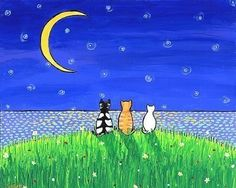Three Cat Moon by AliceinParis on Etsy