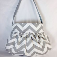 Gathered Bag/Purse Small Gray and White Zigzag Fabric by MaDonz