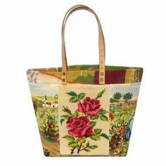 leshopdemoz.com, canevas vintage,  French cross stitched Tote Bag