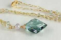 Green Amethyst  14 Goldfill  Necklace by skyvalleyjewelry on Etsy, $125.00
