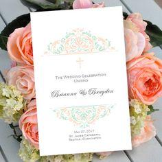 Wedding Program Grace Peach & Mint by WeddingTemplates, $10.00